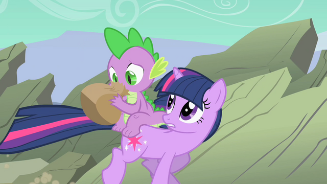 "File:Twilight Sparkle and Spike ""Can you breathe yet"" S01E19.png"