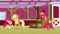 Apple Bloom backs Applejack toward more crates S6E23