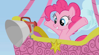Pinkie Pie observing the racers from a hot air balloon S1E13