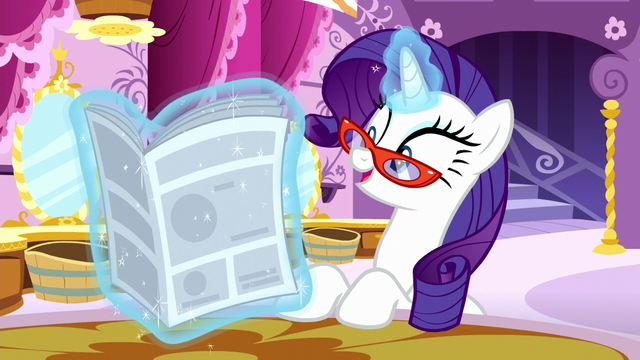 "File:Rarity reads ""some might say it's the ultimate achievement in Equestrian fashion"" S6E9.png"