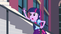 Twilight hanging onto stair rail EG