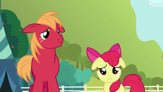 File:Apple Bloom and Big Mac ashamed S5E17.png