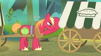 Big Mac behind Applejack's cart S4E17