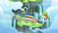 Rainbow flying away from the Wonderbolt Academy S6E24