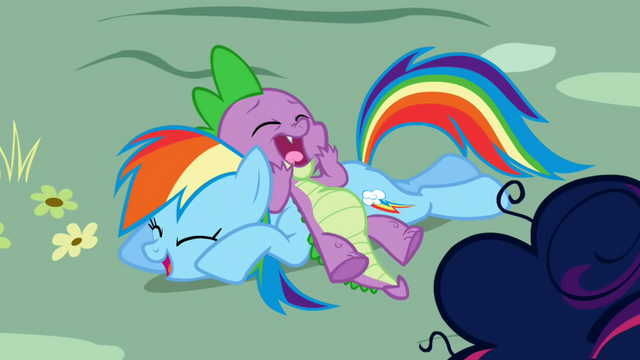 File:Spike and Rainbow Dash laughing together S1E01.png