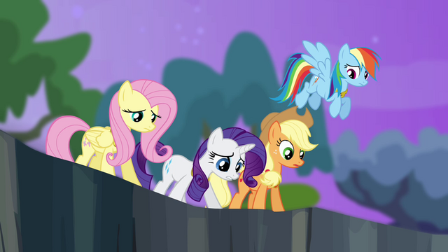 File:Twilight's friends looking into the ravine S4E02.png