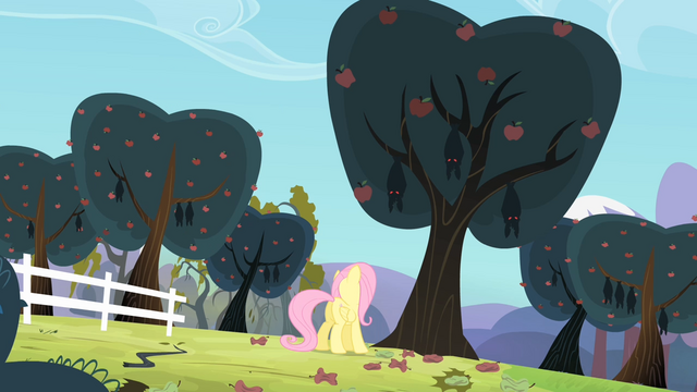 File:Fluttershy about to talk with the bats S4E07.png