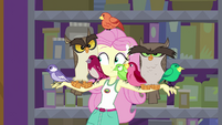 Fluttershy with multiple birds perched on her arms EG4