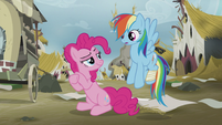 Pinkie Pie gives Rainbow a sly look S5E8