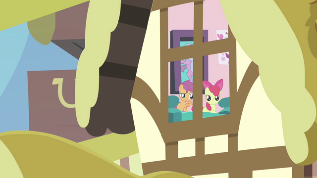 File:Scootaloo and Apple Bloom from outside window S3E4.png