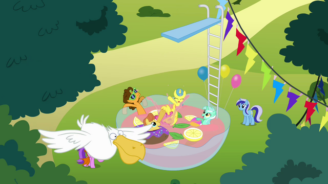 File:Ponies swimming in a bowl of punch S4E12.png