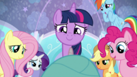 Mane Six aww-ing at Baby Flurry Heart S6E1