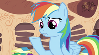 Rainbow Dash with hoof up S2E21