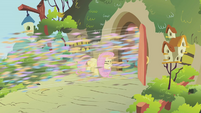 Swarm flying past Fluttershy S01E10