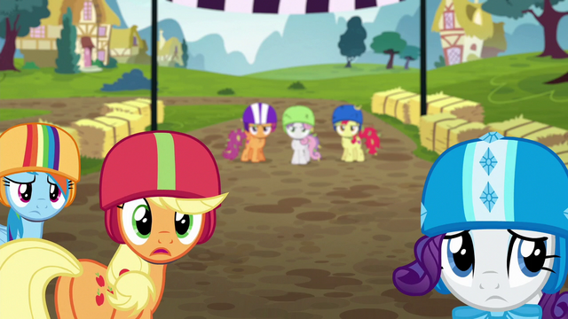 File:Rainbow, AJ, and Rarity look at other racers S6E14.png