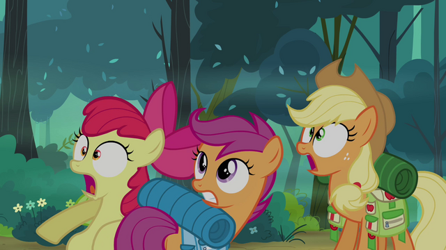 File:Applejack, Apple Bloom, and Scootaloo in shock S03E06.png