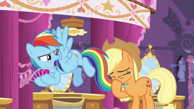 File:Applejack blows her nose with Dash's tail S5E7.png