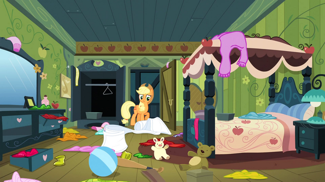 File:Applejack 'Your cousin is supposed to sleep in here' S3E4.png