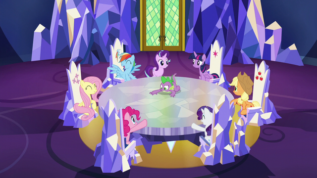 File:Main ponies getting excited S6E12.png