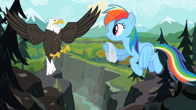 File:Rainbow Dash giving handkerchief to eagle S2E07.png