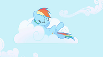 Rainbow Dash lounging on a cloud S1E01