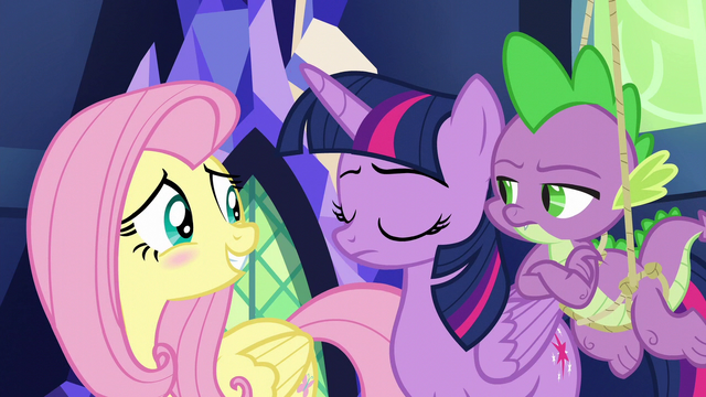 File:Twilight and Spike in disapproval; Fluttershy blushing S6E11.png