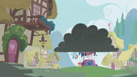 Apple Bloom moping under a dark cloud S1E12