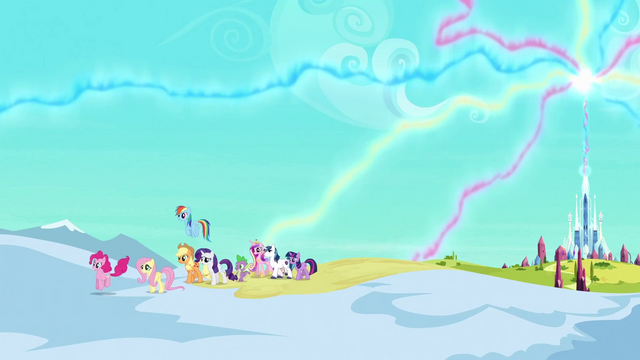 File:Main ponies, Spike, Shining and Cadance leaving the empire S3E2.png