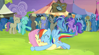 RD and Fluttershy hug after tackling S4E22
