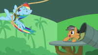 Rainbow Dash swinging from a rope S6E13