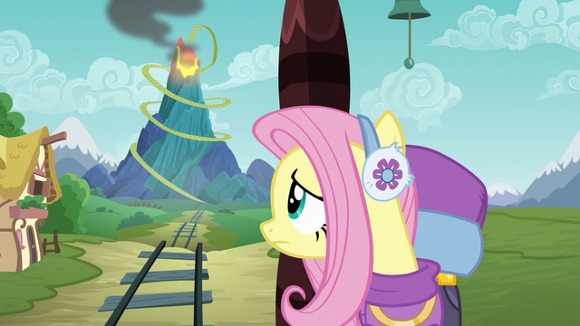 File:Fluttershy looking at Discord's volcano S6E17.png