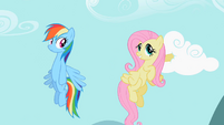 Fluttershy putting hoof in cloud S2E07