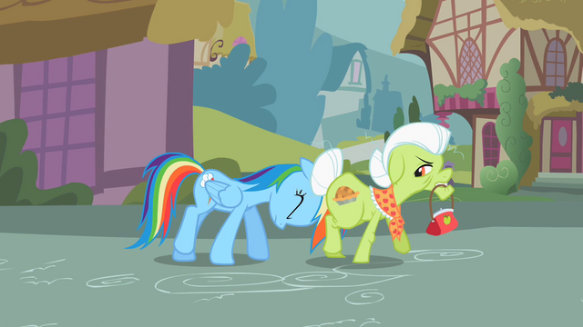 File:Rainbow Dash shoving Granny S2E8.png