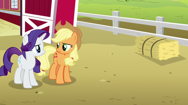 File:Applejack and Rarity look at each other S6E15.png