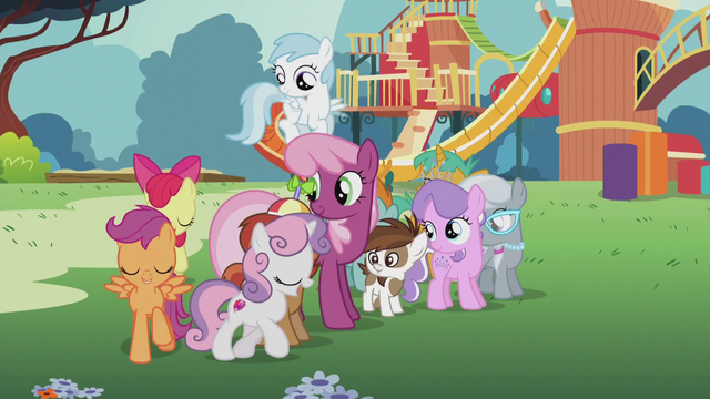 File:CMC sing and circle around Cheerilee and foals S5E18.png