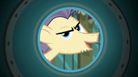 Pouch Pony inspects party cannon barrel S6E3