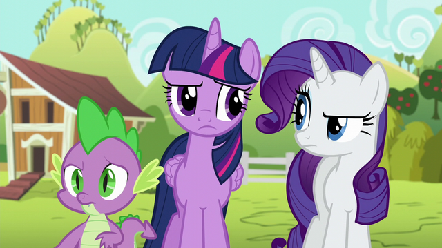 File:Twilight, Rarity, and Spike bewildered S6E10.png