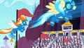 Accidental Wonderbolts appearing in the Derby out of nowhere S02E09.png