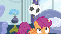 Scootaloo ducks under a soccer ball S6E14