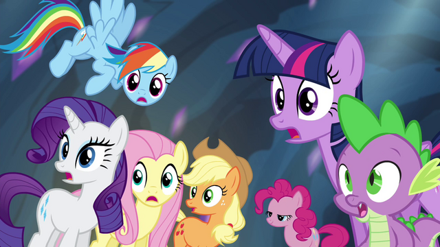 File:Mane 6 and Spike surprised S4E25.png