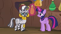 Zecora looking at Spike S5E22