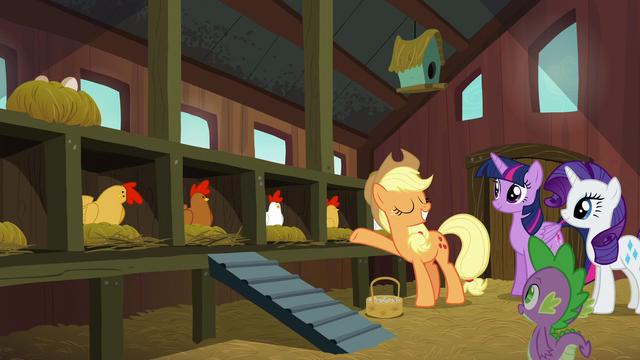 File:Applejack presenting her chicken coop S6E10.png