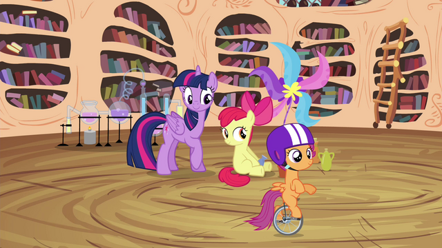 File:Twilight and Apple Bloom watch Scootaloo unicycle S4E15.png