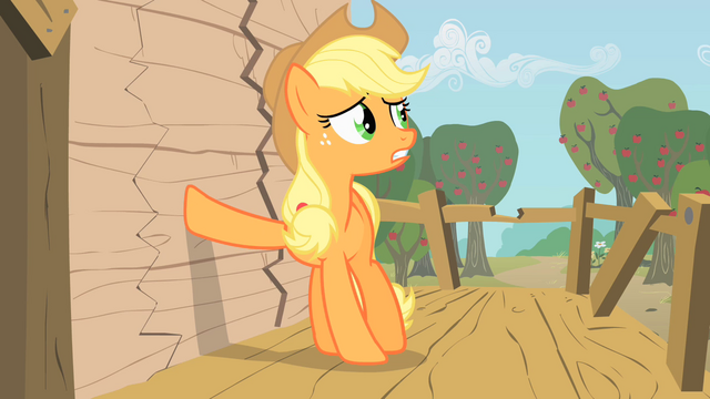 File:Applejack putting hoof on wall S1E18.png