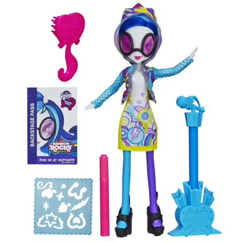 File:DJ Pon-3 Equestria Girls Rainbow Rocks designing dress doll.png