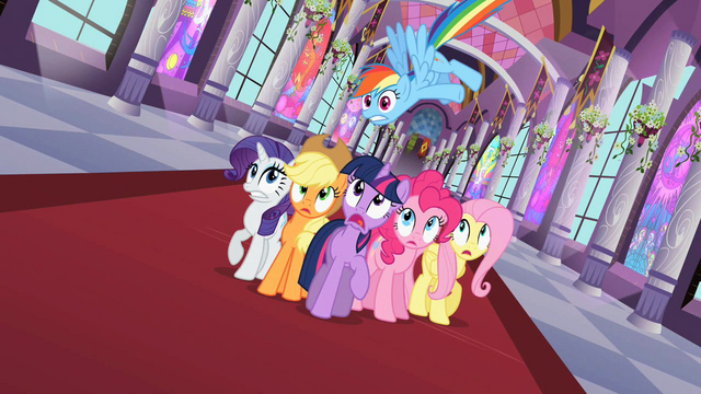 File:Main six ponies surprised S2E01.png
