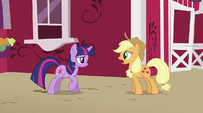 Applejack talking to Twilight S2E02