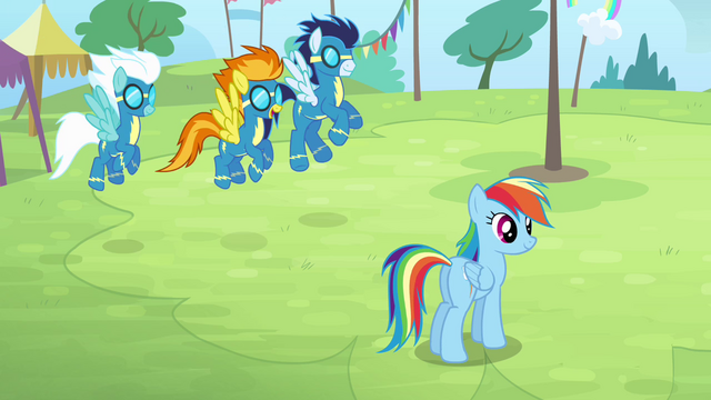 File:The Wonderbolts arrive on the field S4E10.png