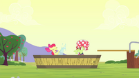 Apple Bloom and Granny Smith playing in the water S4E20