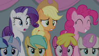 Rarity and AJ shocked, Pinkie pleased S4E24